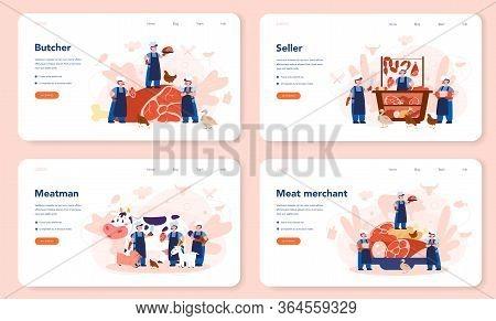 Butcher Or Meatman Web Banner Or Landing Page Set. Fresh Meat