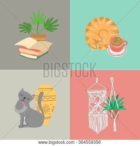 Cozy Hand Drawn Vector Set Of Elements.