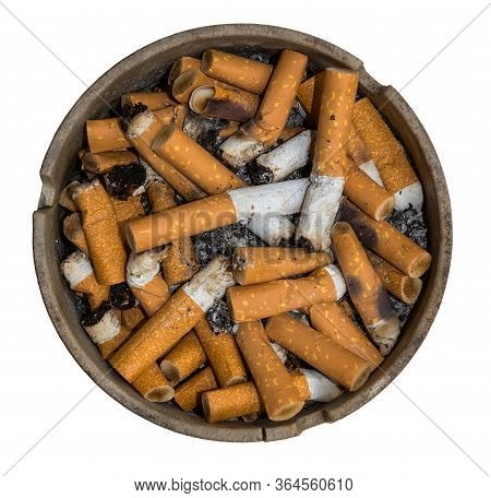 Isolated Ashtray With Cigarettes Against A White Background