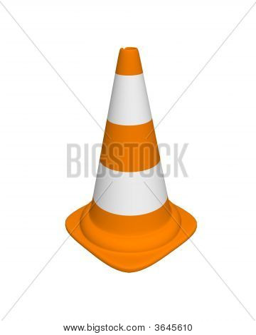 conical landmark for warning on road on white background poster