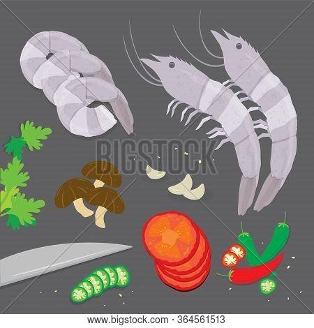 Set Of Ingredient Tom Yum Kung Soup Traditional Thai Food. Cartoon Vector Illustration