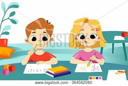 Concept Of Children Self Education And Development. Boy Solve Equation, Girl Paint A Picture Sitting