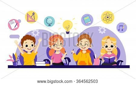 Children Online Education, Remote Study, Distance Exam, Training Courses, Video Tutorials. Cheerful
