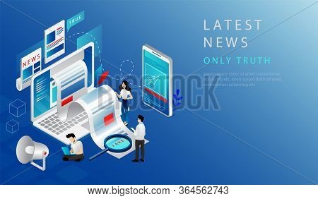 Isometric 3d Concept Of Latest News. Website Landing Page. News Update, Online News. People Work In