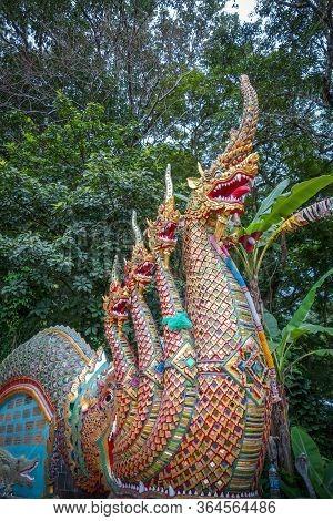 Dragon Statue In Wat Phra That Doi Suthep Temple, Chiang Mai, Thailand