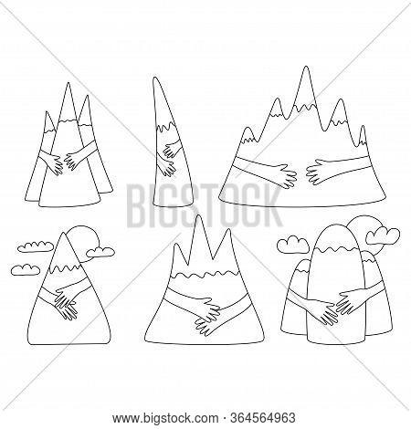 Mountain Hug In Line Style. Cute Cartoon Set When Hands Hugged Hills With Love. Vector Illustartion