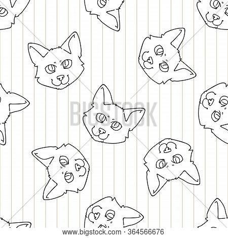 Cute Cartoon Monochrome Japanese Bobtail Kitten Face Seamless Vector Pattern. Pedigree Kitty Breed D