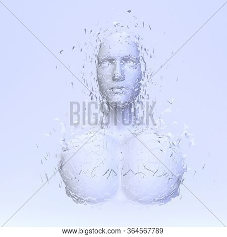 3d render of Abstract polygonal human face