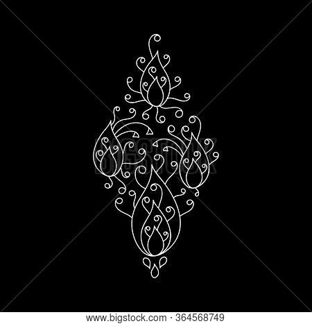 Decorative Element In The Form Of A Rhombus, A Mandala Petal . Hand-drawn Mehndi Design. Ethnic Mono