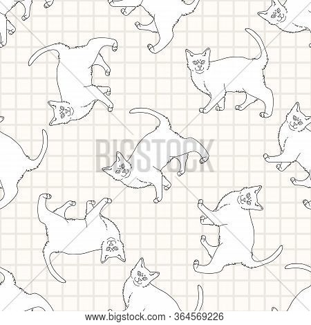 Cute Cartoon Monochrome Bombay Cat Lineart Seamless Vector Pattern. Pedigree Kitty Breed Domestic Ca