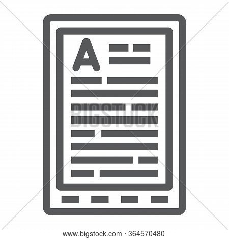 E Book Reader Line Icon, Education And School, Digital Book Sign Vector Graphics, A Linear Icon On A