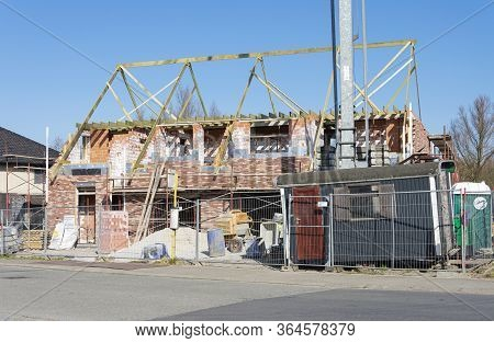 Sint Gillis Waas, Belgium, April 4, 2020, House Under Construction With An Iron Gate In Front