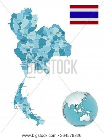 Thailand Administrative Blue-green Map With Country Flag And Location On A Globe.