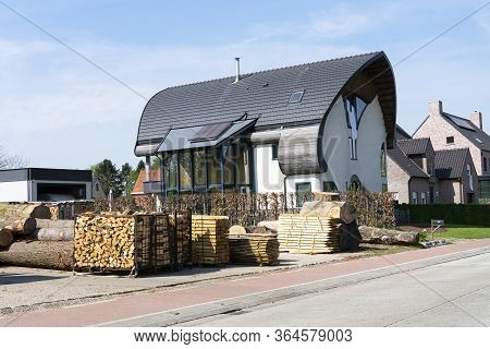 Sint Gillis Waas, Belgium, April 16, 2020, Ecological House, Also Known As Green House Very Energy E