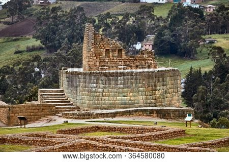 Inca ruins at Ingapirca archeological site in Canar province near Cuenca. Largest Inca ruins in Ecuador