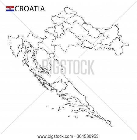 Croatia Map, Black And White Detailed Outline Regions Of The Country.
