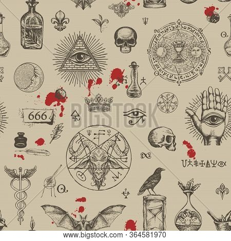 Vector Seamless Pattern On A Theme Of Freemasonry, Satanism And Occultism In Vintage Style. Repeatin