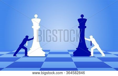 Businessmen Moving Chess Pieces On Chess Board. Man In Suits With Chess. Concept Of Business Or Poli