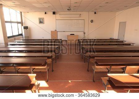 Ankara / Turkey - 02 17 2020: Empty Highschool Classroom Due To Measures Taken Regarding Global Pand