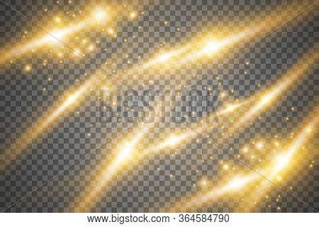 Set Glow Light Effect With White Sparks And Golden Stars Shine With Special Light.white Glowing Ligh
