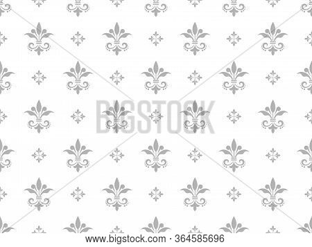 Wallpaper In The Style Of Baroque. Seamless Vector Background. White And Grey Floral Ornament. Graph