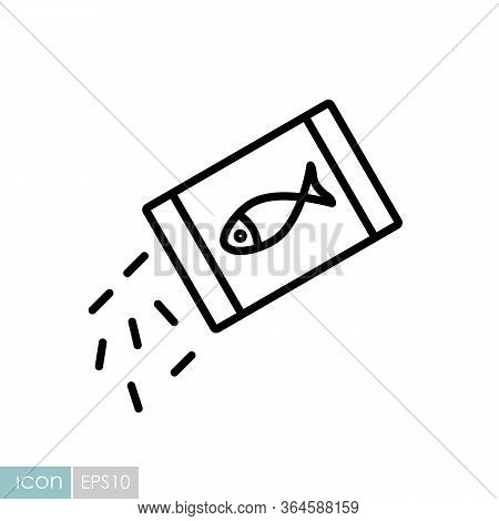 Pet Fish Feed Vector Icon. Pet Animal Sign. Graph Symbol For Pet And Veterinary Web Site And Apps De