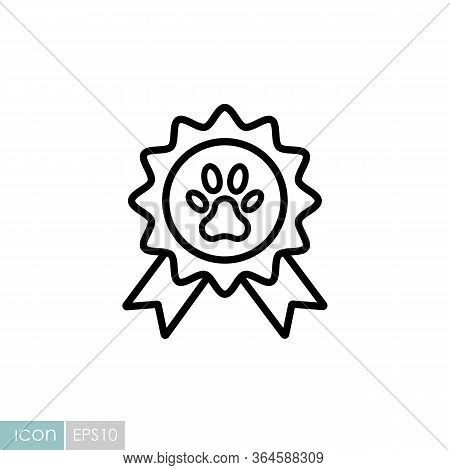 Pets Award Rosette Vector Icon. Pet Animal Sign. Graph Symbol For Pet And Veterinary Web Site And Ap
