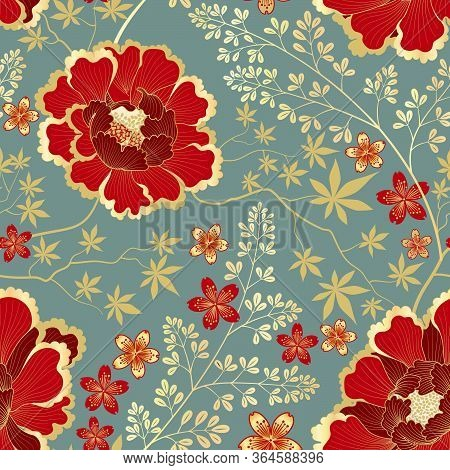Floral Pattern. Flower Seamless Background. Flourish Ornamental Garden Wallpaper In Retro Eastern Or