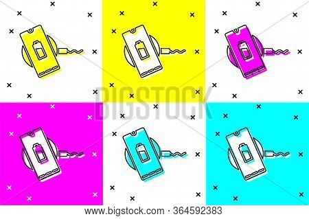 Set Smartphone Charging On Wireless Charger Icon Isolated On Color Background. Charging Battery On C
