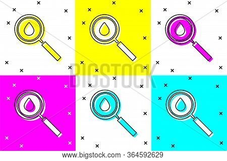 Set Oil Drop Icon Isolated On Color Background. Geological Exploration, Geology Research. Vector Ill