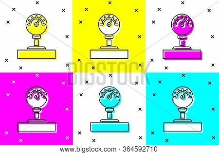 Set Gauge Scale Icon Isolated On Color Background. Satisfaction, Temperature, Manometer, Risk, Ratin
