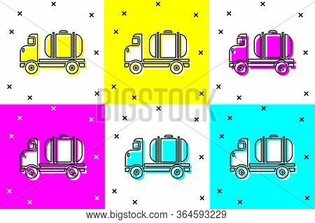 Set Tanker Truck Icon Isolated On Color Background. Petroleum Tanker, Petrol Truck, Cistern, Oil Tra