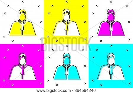 Set Lawyer, Attorney, Jurist Icon Isolated On Color Background. Jurisprudence, Law Or Court Icon. Ve