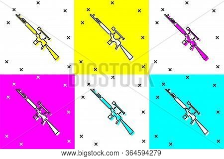 Set Sniper Rifle With Scope Icon Isolated On Color Background. Vector Illustration