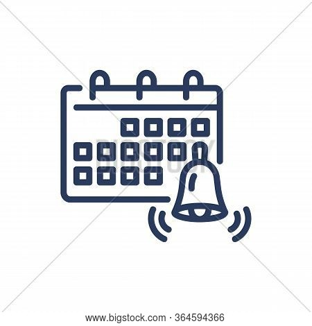Calendar With Bell Thin Line Icon. Deadline, Reminder, Date Isolated Outline Sign. Deadline And Time