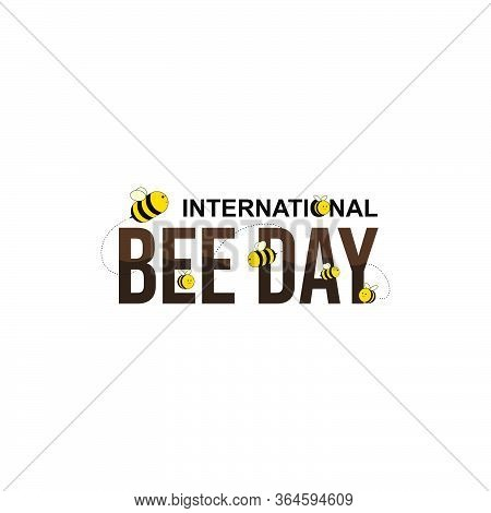 International Bee Day. World Bee Day. Bee Day Typography Design. Flying Bee. Vector Illustration