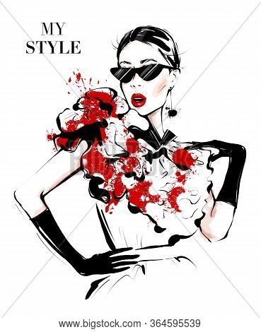 Hand Drawn Beautiful Young Woman In Sunglasses. Fashion Woman In Red And Black Style. Stylish Girl.