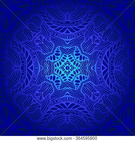 Vintage Psychedelic Trippy Colorful Fractal Pattern. Gradient Blue, Dark Blue Colors. Decorative Sur