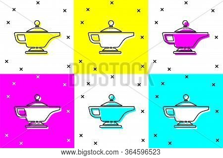 Set Magic Lamp Or Aladdin Lamp Icon Isolated On Color Background. Spiritual Lamp For Wish. Vector Il