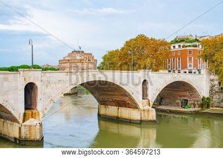 Rome, Italy. Ponte Principe Amedeo Savoia Aosta/ Pasa Pedestrian Bridge Spanning Over Tiber River. I