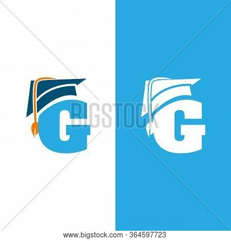 Initial Letter G With Graduation Hat Isolated White And Blue Background. Unique Letter G In Flat Sty