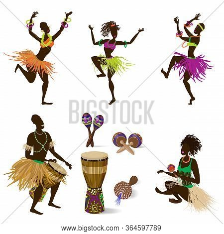 A Set Of Dancing Figures Of People And African Ethnic Musical Instruments, A Jumbo Drum And Various