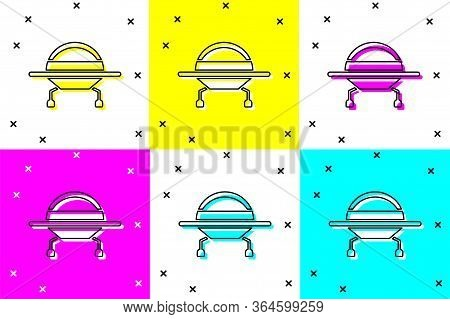 Set Ufo Flying Spaceship Icon Isolated On Color Background. Flying Saucer. Alien Space Ship. Futuris