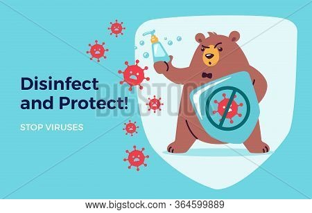 Disinfect, Protect, Stop Virus Concept For Kids. Washing Hands And Using Hand Sanitizers. Cute Bear
