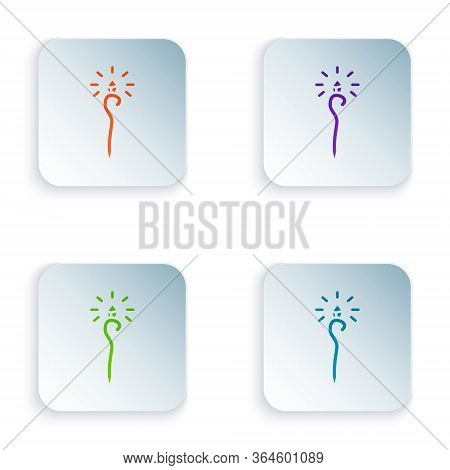 Color Magic Staff Icon Isolated On White Background. Magic Wand, Scepter, Stick, Rod. Set Colorful I