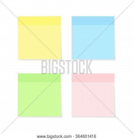Sticky Note Paper Set In Various Colors Isolated On White Background - Vector Illustration Of Colorf