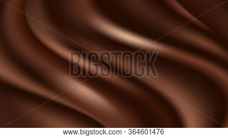Chocolate Wave Background. Flowing Smooth Satin Texture, Dark Brown Creamy Chocolate Pattern. Vector