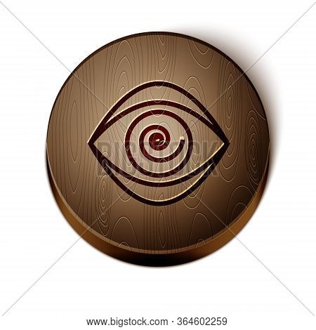 Brown Line Hypnosis Icon Isolated On White Background. Human Eye With Spiral Hypnotic Iris. Wooden C
