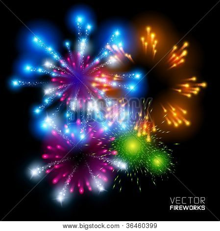 Beautiful Vector Fireworks, on a black background.