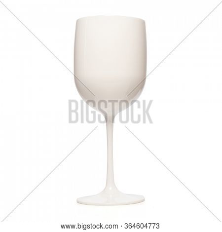Realistic wine glass. White wine glass for gourmets. Isolated glass cup on wite background for festive events
